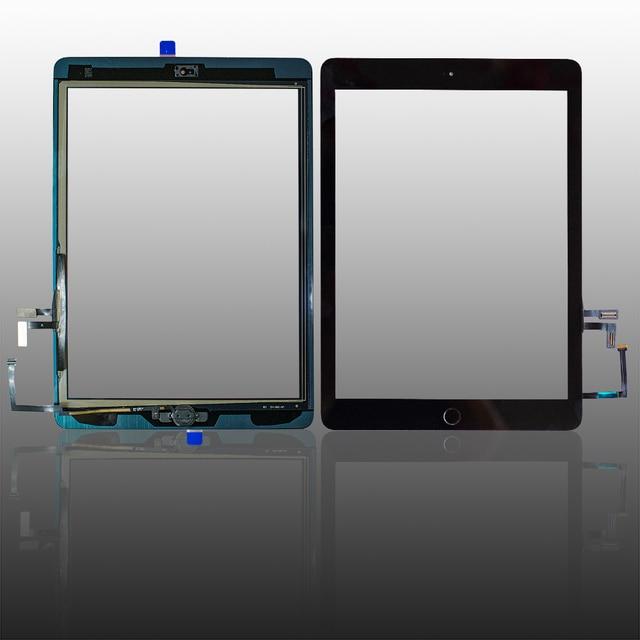 ทดสอบดีสำหรับiPad Air1 Touch Screen Glass Digitizer & กาว + Home Flexcableเสร็จA1474 A1475 A1476