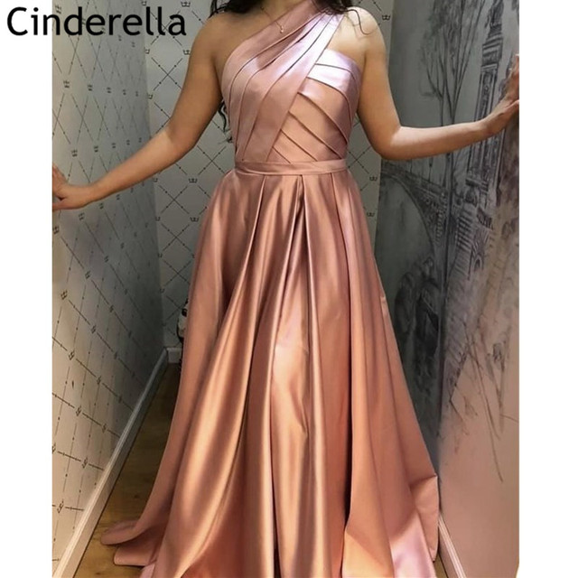 Best Price 54d442 Pink Prom Dresses Robe De Soiree Simple Elegant One Shoulder A Line Sweep Train Satin Prom Dresses Vestidos De Fiesta De Noche Cicig Co