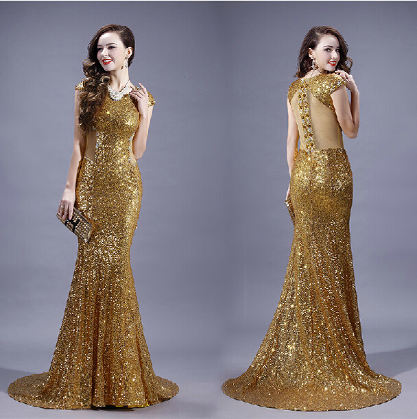 Vestido De Festa Gold Sequined  Sexy Backless Mermaid Evening Gown 2020 Cap Sleeve Prom Crystal Mother Of The Bride Dresses