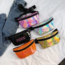 Holografische Roze Fanny Pack Laser Riem Tas Reflecterende Taille Bag Pu Purse Borst Telefoon Pouch Travel Zilver Taille Packs Been tas(China)