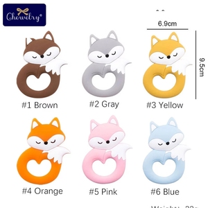 Image 2 - 10pc Baby Silicone Teether Rodent Silicone animal Fox Pacifier teeth Pendant BPA Free Silicone Beads Chew Biter Children Goods