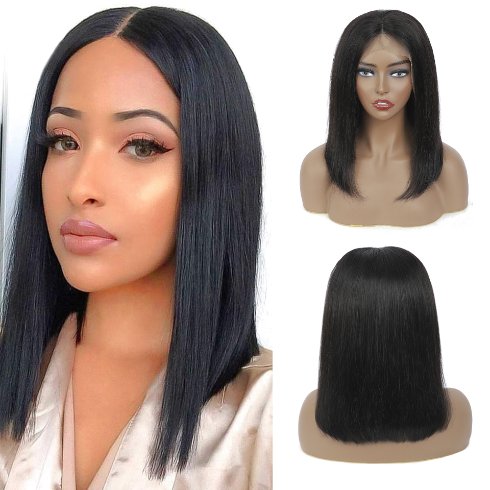 Wig Straight Short Bob Lace Front Wigs 13x4 Lace Front  Wigs Pre-plucked With Baby Hair  1