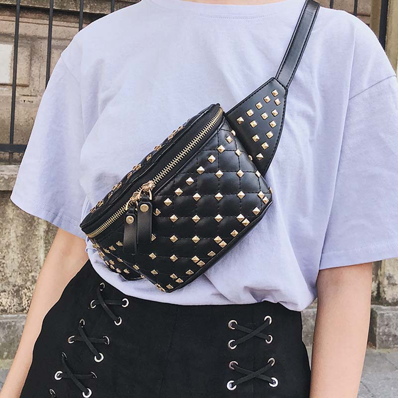 Waist Bag Women Leather Fanny Pack Waist Bag High Quality Banana Bags Rivet Funny Pack Belt Kidney Shoulder Messenger Bag