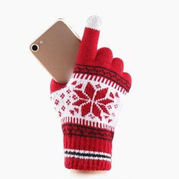 الشتاء الدافئ المرأة محبوك قفازات لطيف عيد الميلاد الغزلان أزياء كاملة فنجر قفازات عيد الميلاد نمط لمس الشاشة متماسكة قفازات 1