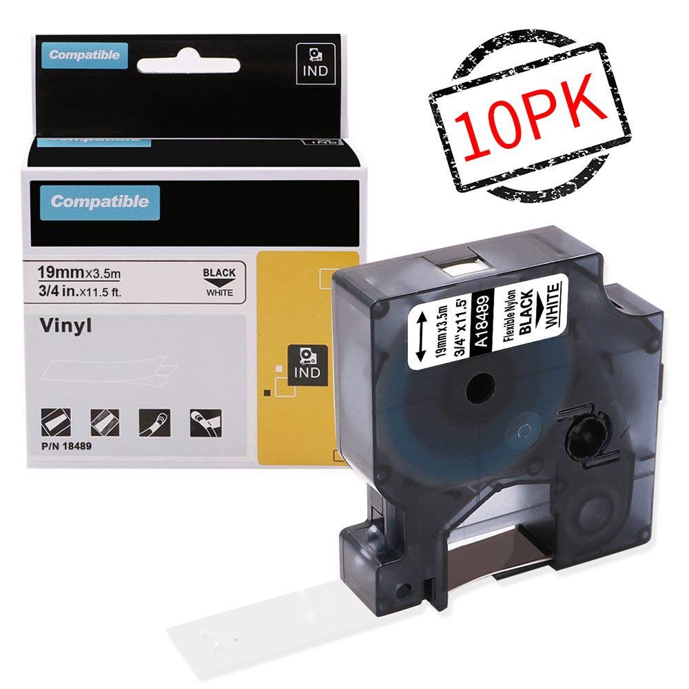 10 pcs lote 19mm 18489 rinoceronte flexivel etiquetas de nylon preto no branco para dymo label