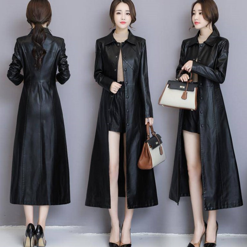 New Black and Red Leather Jacket Long Coat Spring Autumn Women Leather Coat Long Sleeve Single Breasted Pocket Female Jacket 232