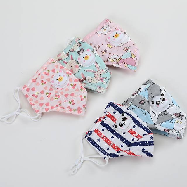 3Set Owl Print Kids Mouth Face Masks For Children Anime Washable Reusable Cloth Mask Filter Cute Cotton Mask 1