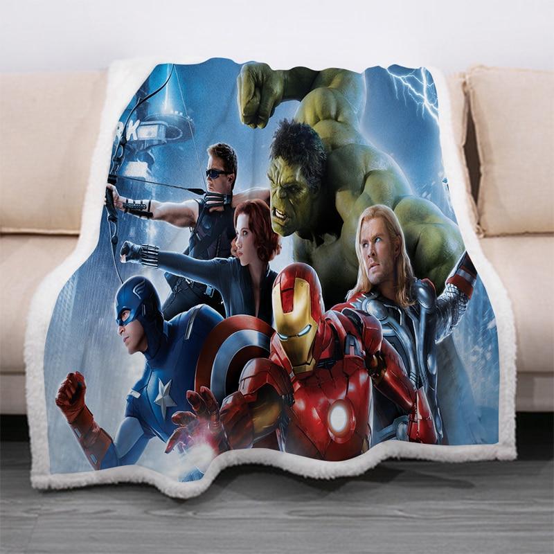 Superhero Avengers 3D Print Sherpa Blanket Sofa Couch Quilt Cover Travel Bedding Velvet Throw Thick Double-layer Fleece Blankets-4