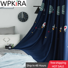 Cartoon Outer Space Pattern Blackout Curtain For Kids Boys Children Bedroom Luxury Fabric Embroidered Tulle Living Room WP020H
