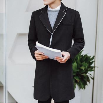 Male Wool Windbreaker Overcoat Men's Wear Loose Coat Man 2020 Spring Coats Black Sobretudo Slim Fit Designer Long Jackets Mens