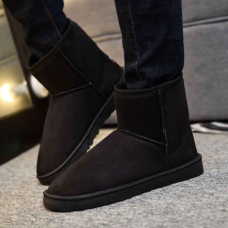 Yeni en kaliteli klasik erkek kar botları yarım çizmeler sıcak kış botları erkek Retro ayakkabı Chaussures Hommes Botas Masculinas