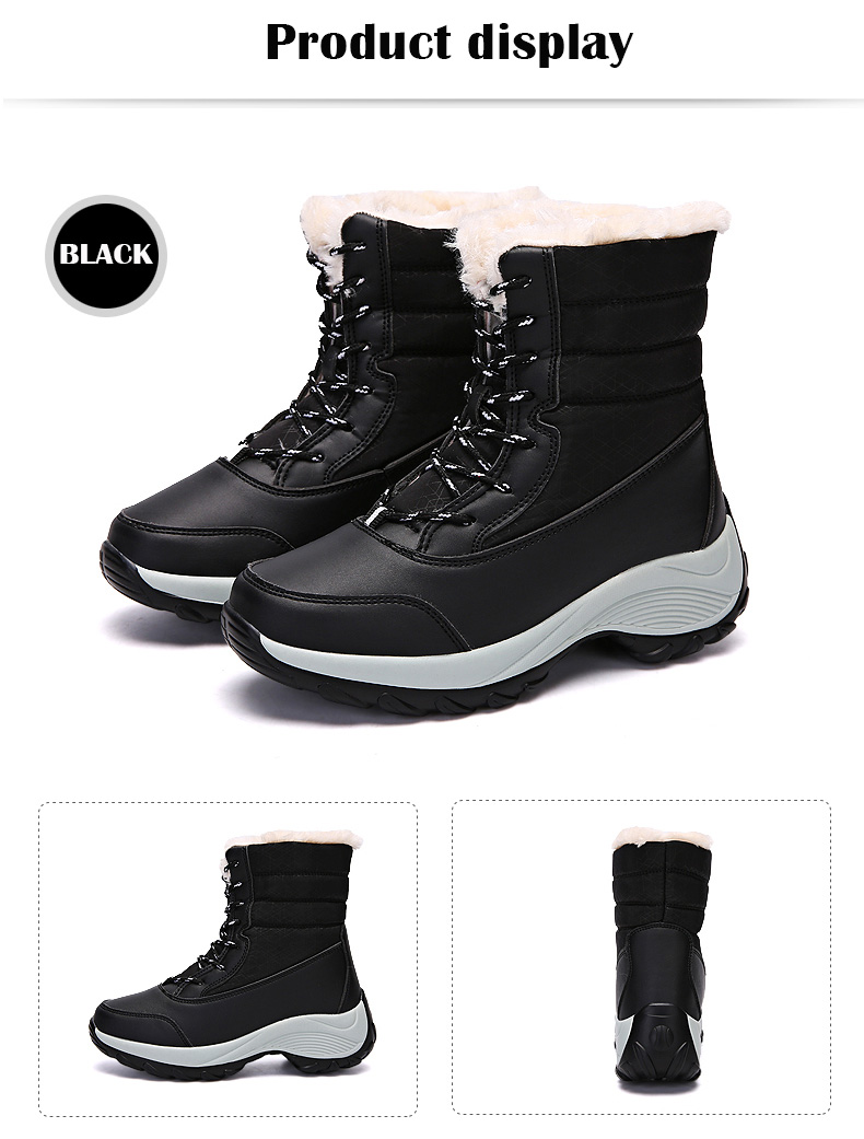 2019 Women Snow boots Waterproof Non-slip Parent-Child Winter Boots Thick Fur Platform Waterproof and Warm Shoes Plus Size 31-42 54