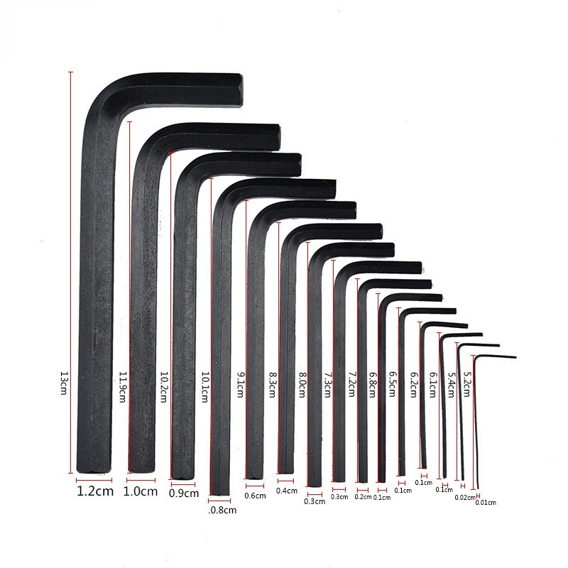 Tools : Industrial grade Flat L-type Hex Key Allen Wrench Screwdriver Set 0 028inch- 3 8inch Inch  amp  0 7mm-10mm Professional   Metric Spanner