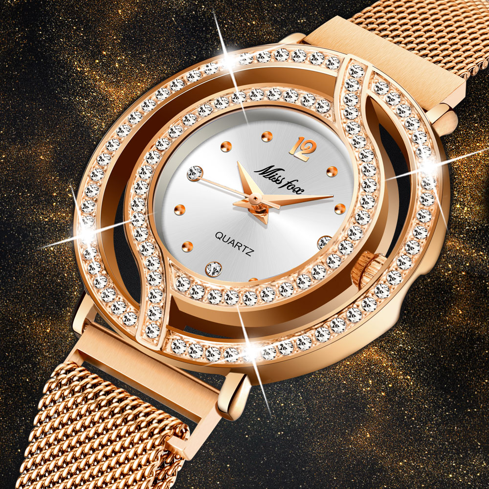 Dropshopping 2020 MISSFOX Rose Gold Steel Strap Magnetic Mesh Band Casual Luxury Women Quartz Waterproof Bracelet Women Watches