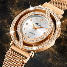 Dropshopping 2020 MISSFOX Rose Gold Steel Strap Magnetic Mesh Band Casual Luxury Women