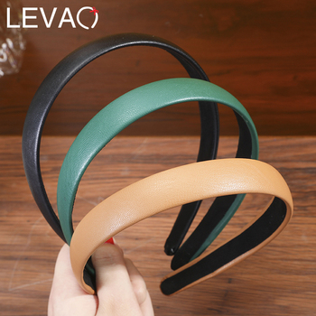 Levao Solid Color Leather Hairbands Girls Headband Hoop Wide Side Head Band For Women Bezel Fashion Hair Accessories levao simple matte solid color head hoop chain hair accessories girls women hollow bezel turban headwear headband hairband lady