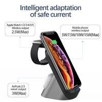 Labobbon suporte do carregador sem fio qi 15w estação doca de carregamento rápido para apple watch iwatch 6 5 4 airpods pro iphione 12 11 xs x 3