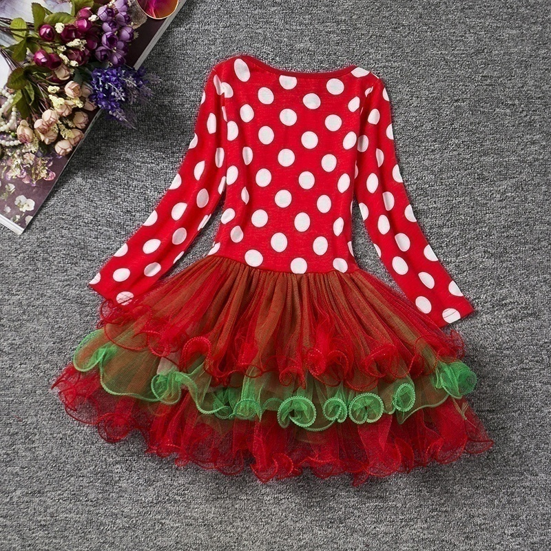 H02667a7d03cb436f9396044847ef482ec New Year Baby Girl Christmas Dress Girl's Merry Christmas Dress Children Kids Cotton Dot Dress Girls Tutu Santa Clus Costume