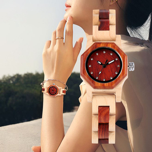 Image 5 - Elegant Rhinestones Octagon Shape Watch Wood Watch Women Clock Full Wooden Chic Bangle Dress Watch Top Luxury Relogio Feminino