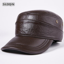 SILOQIN Adjustable Genuine Leather Hat Winter Mens New First Layer Cowhide Military Hats Earmuffs Warm Leisure Flat Cap Dad