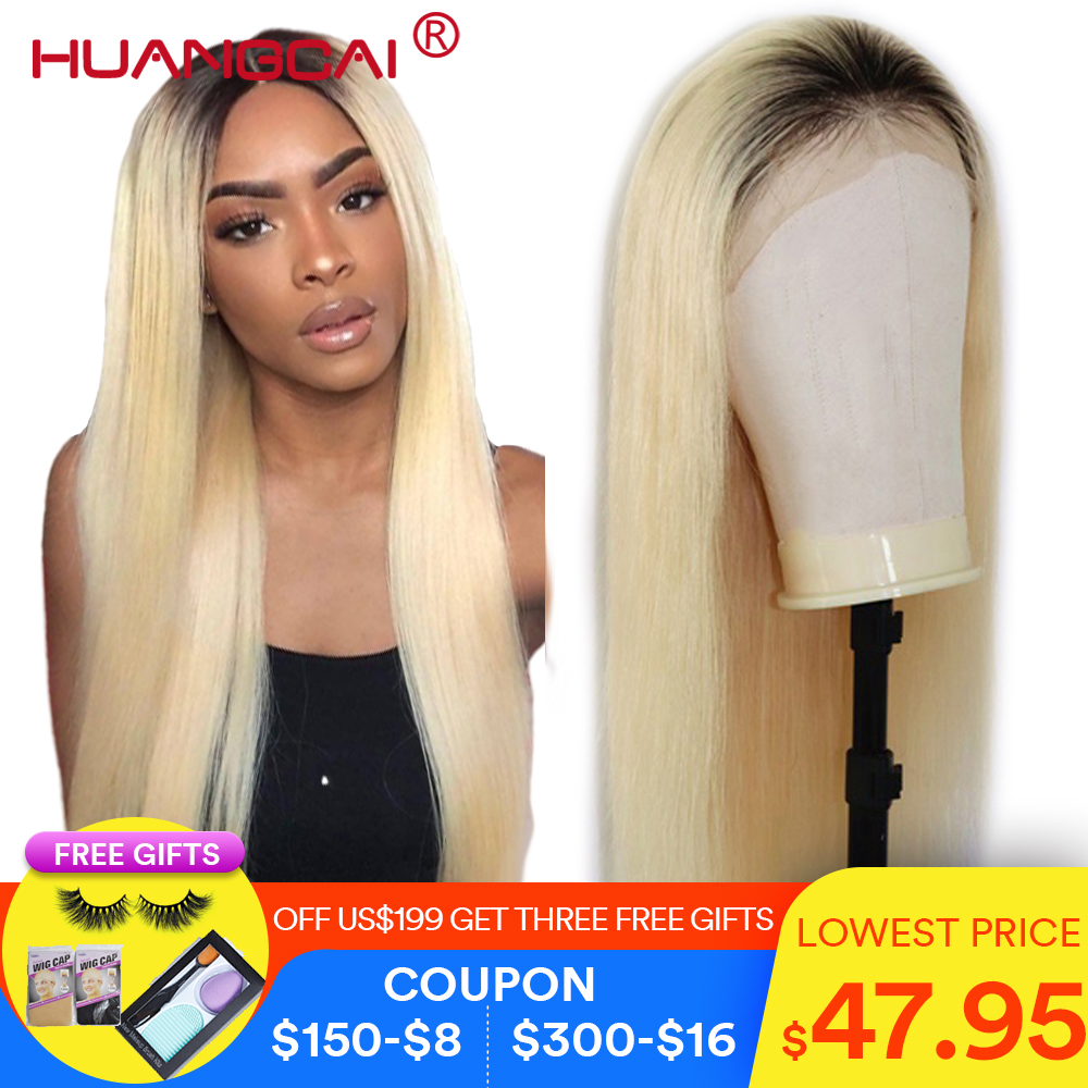 Ombre T1B/613 Lace Front Human Hair Wigs Peruvian Straight 613 Blonde Lace Front Wig Pre Plucked Lace Wig Remy Hair 26 Inch