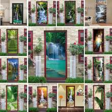 Natural Scenery Door Wallpaper Home Decor Self-adhesive Waterproof Removable Poster Stickers on the Doors Wall Decal deursticker(China)