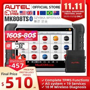 Image 1 - Autel MaxiCOM MK808TS OBD2 Bluetooth Scanner Automotivo Car Diagnostic Scan Tool OBD 2 Programing TPMS Sensor PK MK808 MP808TS