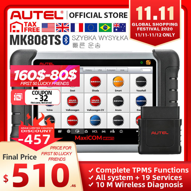 Autel MaxiCOM MK808TS OBD2 Bluetooth Scanner Automotivo Car Diagnostic Scan Tool OBD 2 Programing TPMS Sensor PK MK808 MP808TS