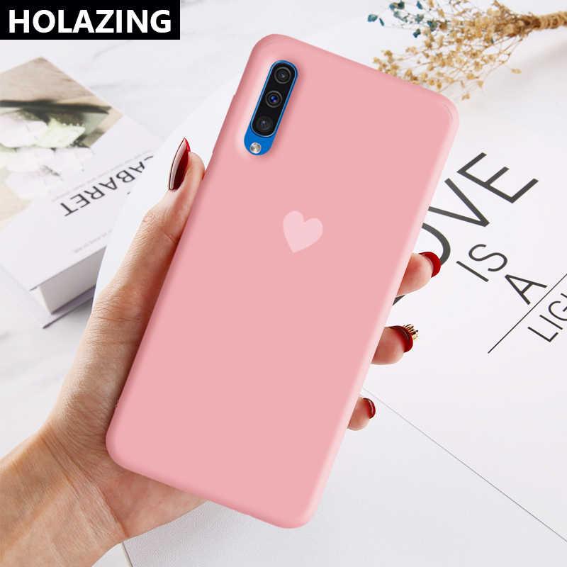 Untuk Samsung Galaxy A51 A71 A01 A11 A10 A20 A20S A50S A30 A30S A10S A70 A80 Kasus Candy Heart Yang Sesuai dengan warna Soft Silicone Cover