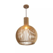 Modern Black hand-made Wood Birdcage Nordic Designer LED Pendant lights bamboo weaving wooden Pendant lamps for living room bar modern black wood birdcage e27 bulb pendant light norbic home deco bamboo weaving wooden pendant lamp