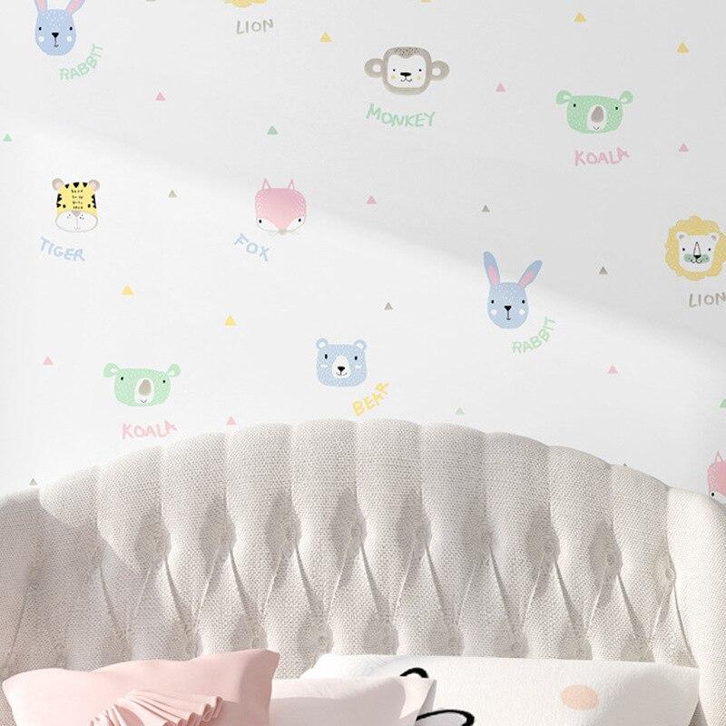 Environmentally Friendly CHILDREN'S Room Wallpaper Boys And Girls Room Korean Style Cartoon Animal Cute Princess Room Nordic Wal