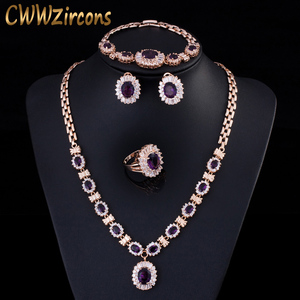 Image 1 - 4 Piece Luxury Light Yellow Gold Color Indian Wedding Party Jewelry Sets Purple Cubic Zirconia Bridal Accessories For Women T230