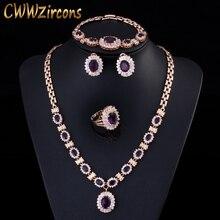 4 sztuka luksusowe światło żółty złoty kolor Indian Wedding Party biżuteria ustawia fioletowa sześcienna cyrkonia akcesoria dla nowożeńców dla kobiet T230