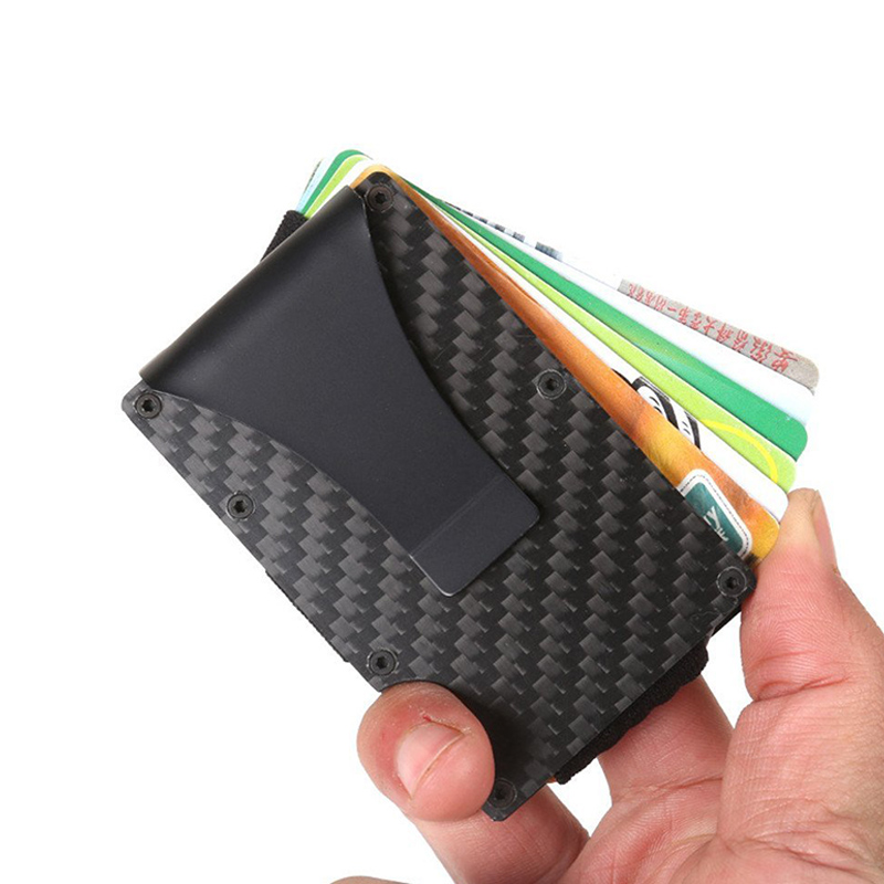 2020 New Men Carbon Fibre Stainless Steel Elastic Band Slim Money Clip Credit Card Holder Wallet Multi-functio Purse Dropship
