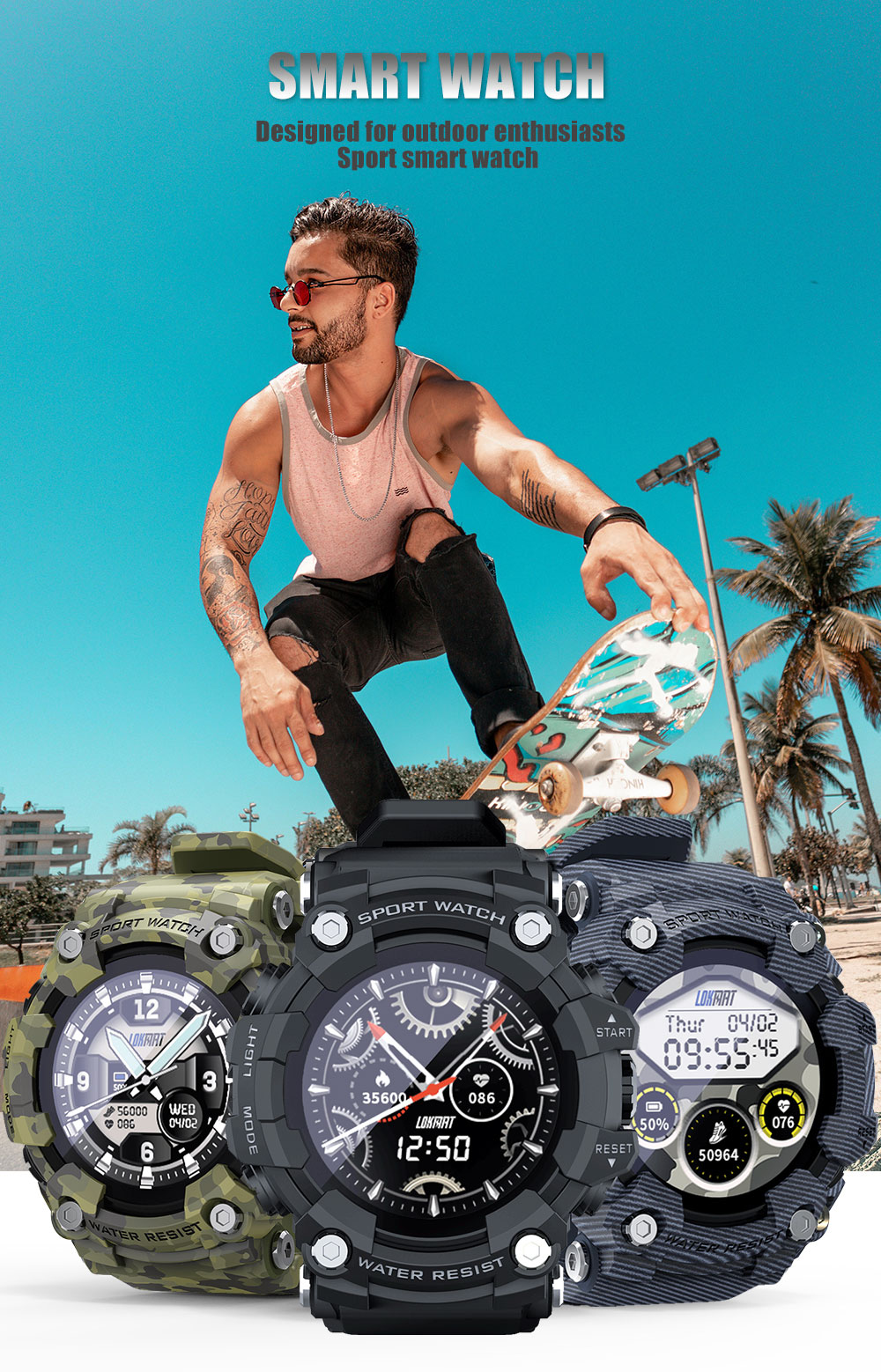 H0267302c049940b3acdbf46489e1a4b1a LOKMAT ATTACK Full Touch Screen Fitness Tracker Smart Watch Men Heart Rate Monitor Blood Pressure Smartwatch For Android iOS