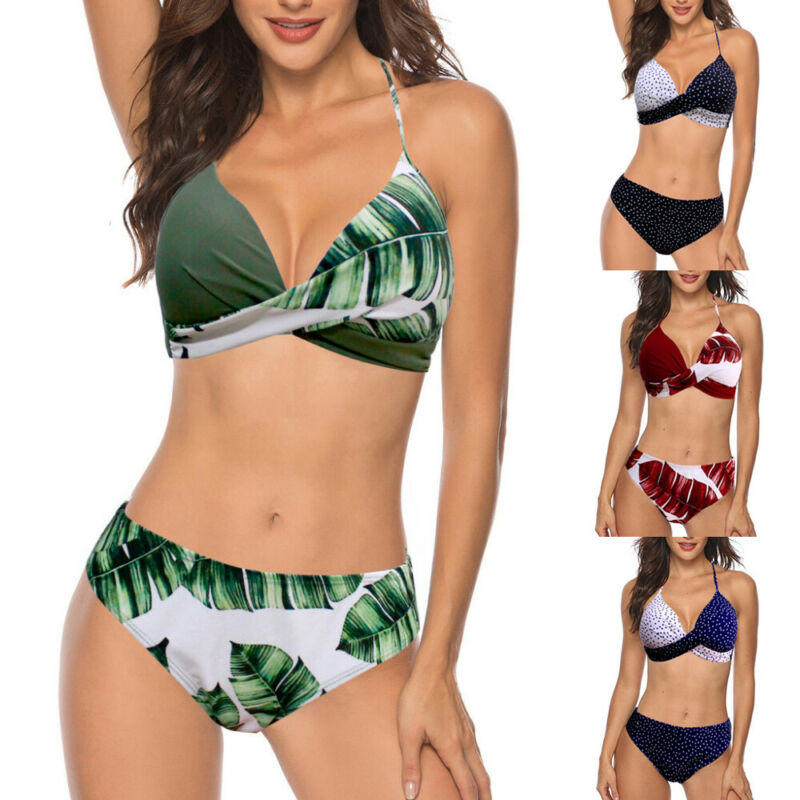 2020 New Fashion Womens High Waist Swimwear Bikini Set Strappy Bathing Suit Swimsuit Beach Wear