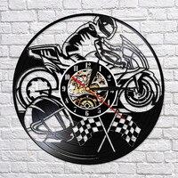 마운틴 익스트림 스포츠 Motocycle Motorbike3D 벽시계 오토바이 장식 시계 비닐 레코드 벽 장식에서 확인