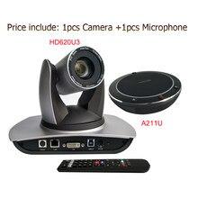 Çok yönlü usb'li mikrofon hoparlör USB3.0 DVI 20X Zoom PTZ kamera H.264 H.265 IP canlı Streaming PTZ kamera
