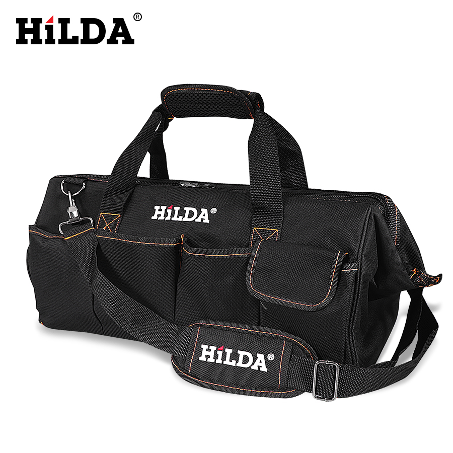 HILDA Tool Bags Waterproof Men canvas tool bag Electrician Bag Hardware Large Capacity Bag Travel Bags Size 12 14 16 18 Inch