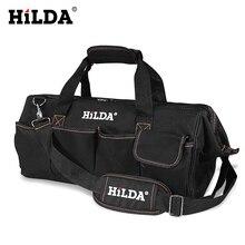 HILDA alet çantaları su geçirmez erkek kanvas alet çantası elektrikçi çantası donanım büyük kapasiteli çanta seyahat çanta boyutu 12 14 16 18 inç