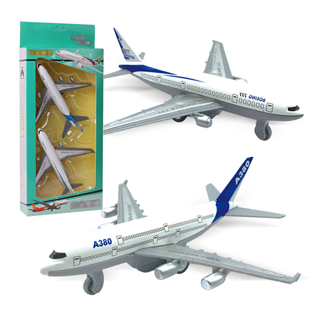 2pcs/Set Pull Back Power Air 777 Airways Aircraft Alloy Model Plane Toys for Children Metal Airlines Airplane Toys Boys Gift image