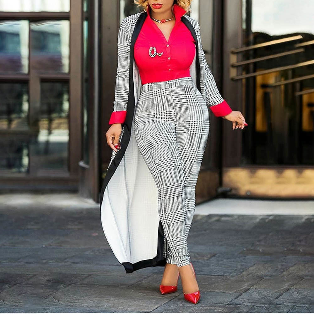 Clocolor 2 Piece Set 2019 Autumn Winter New Houndstooth Jacket Crop top And Pants Set Woman Suits Lady Suit Office Trench Coat thumbnail