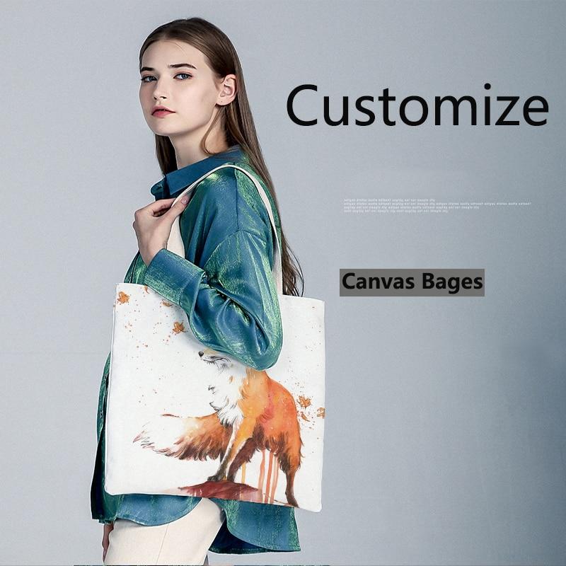 Customized Women Shoulder Bag Solid Corduroy Shoulder Bag Fox Pattern Printing Tote Package Handbag Shopping Bag For Young Girls
