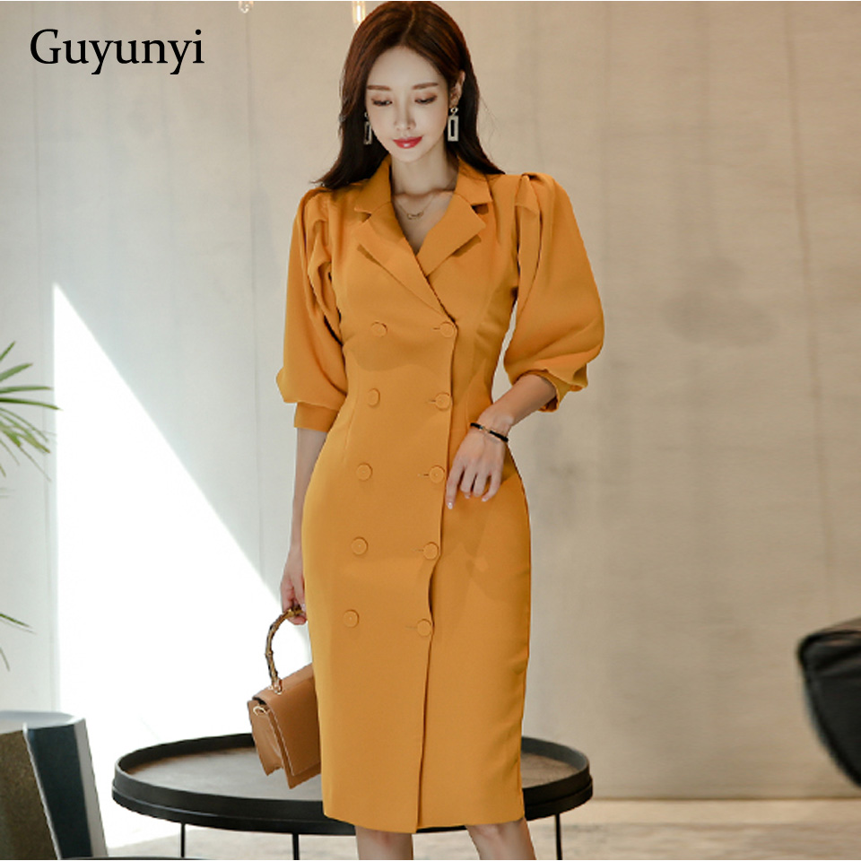 Yellow Lady Office Dress Spring Autumn Athens Generous Puff Sleeve Double-Breasted Slim Temperament Women Elegant Party Dress