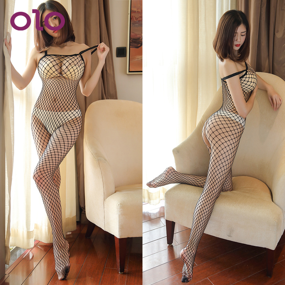 OLO 1PC Hollow Gridding Erotic <font><b>Lingerie</b></font> <font><b>Sex</b></font> Costumes For Women Pajamas Dress <font><b>Adult</b></font> Products Sexy <font><b>Lingerie</b></font> image