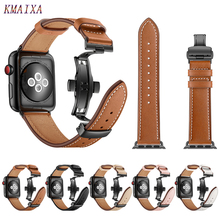 Leather Strap For Apple watch 4 band correa apple 42mm 38 mm 44mm 40mm iWatch series 5 3 2 Butterfly buckle watchband 44