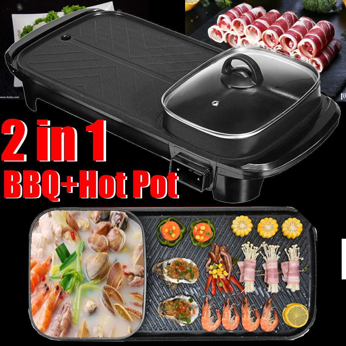 220V Electric BBQ Barbecue Plate Smokeless + Soup Pot Non Stick Multi-function Pan Hot Pot Home Cookware Electric Cook Machine