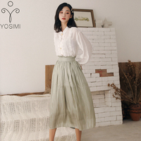YOSIMI Women Skirt and Top Set Elegant Fashion Full Sleeve White Shirt Blouse and Green Mid calf Skirt Women 2 Piece Outfits