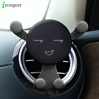 Gravity Car Phone Holder Air Vent Mount Cell Smartphone Holder For Phone In Car Smile Face Bear Mobile Phone Holder Stand GPS 1