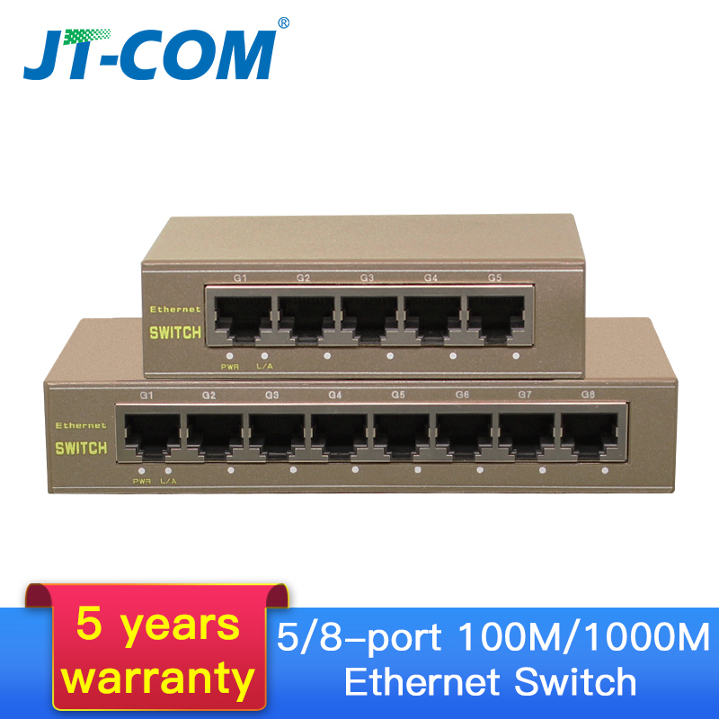 5-Port Gigabit Switch 10/100/1000Mbps 8-port Fast Ethernet Network Switch Plug And Play  LAN Hub/ Full Or Half Duplex Exchange